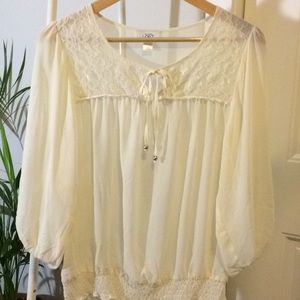 LOFT Cream Peasant Blouse - Like New - SMALL (4-6)